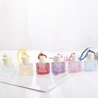 new Colorful Car Perfume Bottle Pendant Essential Oil Diffuser Ornaments Air Freshener Pendant Empty Perfume Glass Bottle SS51648