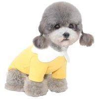 البتلة طوق القطن الخالص الملابس الحيوانات الأليفة الأصفر الوردي الصيف الكلب القمصان للكلاب الصغيرة المتوسطة الصغيرة