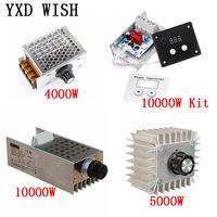 AC 220 V 4000 W / 5000 W / 10000 W SCR Gerilim Regülatörü Karartma LED Dimmer Motor Hız Kontrol Termostat Dimer 220 V Güç Kaynağı