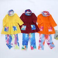 Bambino Vestiti Abbigliamento Set Camicia a maniche lunghe con pantaloni tascabile Sciarpa 3 Pz Moda Neonati Abbigliamento Tie Dye Boutique Baby Girl Outfit
