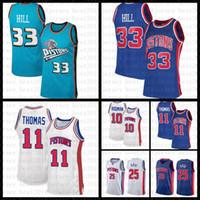 """2021 جديد كرة السلة جيرسي ديترويت """"مكبس"""" رجل منح 33 هيل شبكة الرجعية دينيس 10 رودمان عسالة 11 توماس ديريك 25 روز"""