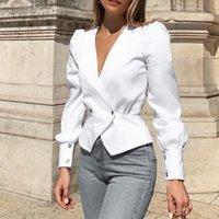 Camisas de mujer color puro trabajo trabajo ropa ropa mujer manga larga sexy v collar espectáculo fino camisa elegantes blusas
