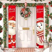 Huiran Добро пожаловать с Рождеством Висит дверь Дверь баннер украшения Рождественские украшения для дома Открытый рождественский декор Новый год Natal LJ201018