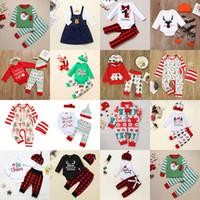 15 Styles Christmas Baby Vêtements Ensembles Cheveux Tenue de Noël Noël Santa Claus Elk Vêtements Pantalon Plaid Pantalon Pantalon Ensemble Toddler Boy Girls Costumes M2266