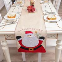 Table de Noël Couverture Linen Père Noël Bonhomme de neige de vacances de Noël Nappe Party Table à manger Nouvel An Décoration DDA780