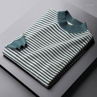 Sweaters pour hommes Minglu Half Turtleneck Pull Homme Haute Qualité Ronde Collier Al automne Hiver Stripe Homme Mens Slim Fit Man 3XL1