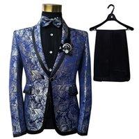 Pyjtrl hommes châle revers 3 pièces costume costume bleu floral motif Jacquard marié marié chanteurs costume de bal de souris Dernières conceptions de pantalons 201123