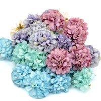 50PCS / 많은 저렴한 인공 꽃 실크 수국 머리 웨딩 장식 DIY 화환 스크랩북 공예 가짜 꽃