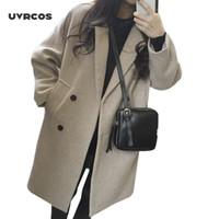 UVRCOS New fina mistura de lã Brasão Mulheres Sólidos Jacket Collar manga comprida de abertura de cama Outono Inverno elegante jaqueta Abotoamento