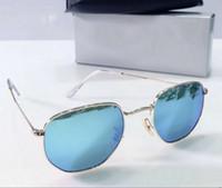 남성 육각 선글라스 클래식 골드 블루 렌즈 Sonnenbrille은 다 유일한 패션 선글라스 차양 새로운 WTH 상자를 occhiali