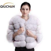 Qiuchen pj1801 Новое поступление Женщины зимняя реальная лиса меховые пальто толстые меховые женщины зимняя куртка бесплатная доставка Y201001