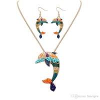 довольно ожерелье наборы Эмали Лошадь ожерелье серьга ювелирных изделий Комплекты Подвеска для женщин серебра гальванической Эмали комплекта ювелирных изделий