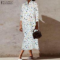 Casual Dresses Plus Size Damen Printed Hemd Kleid Zanzea 2021 Mode Langarm Midi Sommergut Frühling Vestidos Weibliche Button Robe1
