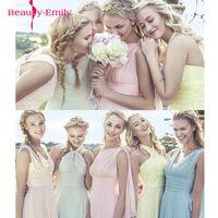Color de caramelo elegante y larga gasa a-line Vestidos de dama de honor Vestido DA DAGA DE HONRA Vestido de fiesta de boda más tamaño personalizar 201144