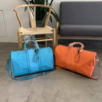 Designers Bolsas Grandes Capacidade Totes Sacos de Ombro Carta Sacos de Flor Moda Unisex Travel Bag Zipper Genuine Leather Homens Duffel Bags