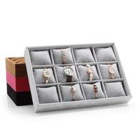 35 * 24cm 12 grille de grille Affiche des bijoux Boîtier en bois d'oreiller Affichage de stockage Organisateur Afficher la boîte Bracelet Bracelet Affichage Tablette Vnael