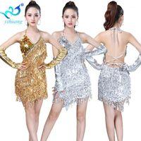 Pailletten Latin Dance Kostüm Kleid Jazz Performance Show Sparkle Fringe Kleid für Ballsaal Salsa Rumba Dance Party Competition1