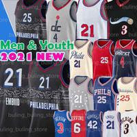 Philadelphia 76ers Washington Wizards Joel 21 Embiid Jersey Russell 4 Westbrook Iverson Ben 25 Simmons Júlio 6 Erving Allen Al 42 Horford Homens Juventude 2021 Novo basquete