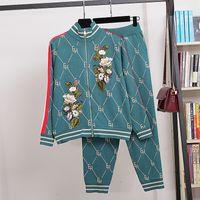 Kış Lüks Kadınlar 2 adet Tasarımcı Pist Çiçek Tiger Nakış Uzun Kollu Örgü Hirkalar ve Pantolon Giyim X0924 ayarlar