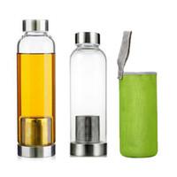Cam Suyu Şişesi 420ml 550 mi BPA Ücretsiz Yüksek Isıya Dayanıklı Açık Yürüyüş Kupası ile Çay Filtre Naylon Kol İçecek Kupa