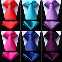 Hommes solides Cravates Pure Fashion Designers de soirée de mariage tissé d'affaires 3,4 « » 100% soie cravate Mouchoir Gravata Set