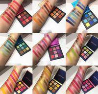 Güzellik Camlı Göz Farı Paleti 9 Renk Neon Göz Farı Parlak Preslenmiş Toz Metal Mat Makyaj Göz Farı