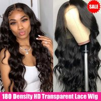 180 Density Body Wave Lace Front Wig Transparent Lace Frontal Wigs 28 Inch Wavy Lace Front Human Hair Wigs T Part Brazilian Wigs