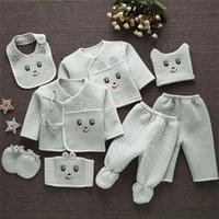 Emotion Moms (8шт / комплект) Младенческая одежда 0-3 м Новорожденного Детские костюмы малыша одежда наборы детские мальчики девушки костюм термический органический хлопок LJ201023