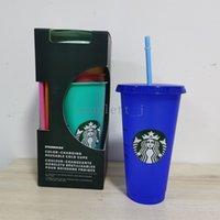 50 pcs24oz mudança de cor tumblers plástico bebendo suco de suco com lábio e palha mágica caneca de café caisom starbucks cor mudando gowi plástico
