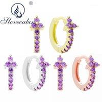 HOOP Hugge Slovecabin Pave 925 Sterling Argent Crystal Clover Huggies Boucles d'oreilles pour femmes Vintage Perçage Cadeau1