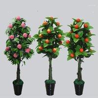 Fleurs décoratives couronnes plantes artificielles 150cm orange pomme pomme pépineuse arbre en pot de bonsaï maison décor fruit fausse maison bonsai1