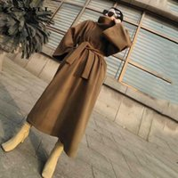 Vestidos casuais zcsmll mulheres camelo breves breves enorme vestido longo vestido de turtleneck luva solta apto de moda maré outono inverno 2021 712