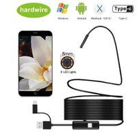 Caméra d'endoscope 8mm 1080P HD Endoscope USB avec 8 LED 1 2 5 10 m câble flexible Inspection étanche Borecope pour Android PC