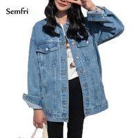 SEMFRI Mavi Denim Kadın Ceket Kore Tarzı Temel Kot Giysileri Bahar Sonbahar Kadın Rahat Kovboy Vücut Fit Kot Coat 201026