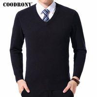 Coodrony Kazak Erkekler Giysileri 2021 Sonbahar Kış Kaşmir Yün Kazak Kazak Artı Boyutu İş Rahat V Yaka Çekin Homme 8128