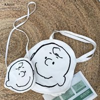 Circular Round Cartoon Canvas Shoulder Bag Concise Cute Cros...