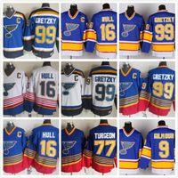 سانت لويس بلوز الفانيلة هوكي خمر 16 بريت هل 99 اين Gretzky 2 AL ماكينيس 9 شاين كورسون 9 دوغ جيلمور الأزرق الأبيض