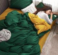 Grüne und gelbe Bett Set Einzelbett Blatt Sets Massivfarbe Baumwolle Duvet Cover Kissenbezug Königin Größe Bettwäsche Jlljxh Carshop2006