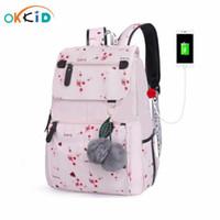 Okkid Kirschblüten Kinderschule Rucksack Für Mädchen Rosa Blume Schultaschen Kinder Floral Rucksack Kind Bücher Tasche