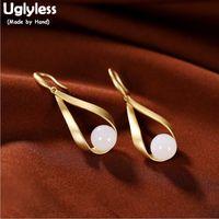 Uglyless Carved Water Drop Women Dress Earrings Real 925 Silver Fine Brincos Jewelry Natural Jade Gems Statement Earrings E1839