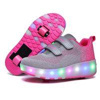 Risrich Детские Светодиодные роликовые спортивные ботинки светящиеся светящиеся света USB кроссовки с колесами детские ролики кататься на коньках для мальчика девушек lj201027