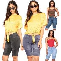 Diz Boyu Kot Pileli Denim Şort Push Up Elastik Orta Bel Biker Kısa Jean Kadınlar Yaz 2021 Siyah Streetwear