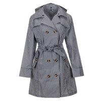 TECHOME Ladies Classic Double Breasted Trench Coat Waterproof Hooded Raincoat Long Autumn Windbreaker Outwear with Belt Khaki