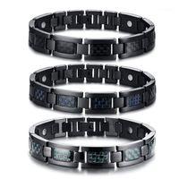 Fibra de carbono tricolor de aço de titânio quatro em um ímã magnético negro homens pulseira saúde energia germânio holograma bracelets1