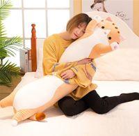 2021 Cartoon Cat Peluche Giocattolo Giant Giant Super Soft Pillow Cute Kitten Doll Abbracciare lungo Puscolo addormentato 50 cm 70 90 cm per ragazza regalo deco