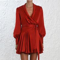 Элегантный шелковый атласный платье женщин сексуальный V шеи фонарный рукав рюмки рюшами sash mini wrap платья женская линия длинные рукава платье vestido lj200910