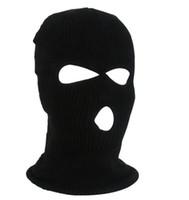3 hoyos máscaras cubrir la cara deporte esquí ciclo al aire libre del invierno del sombrero de la gorrita tejida CS caliente más caliente táctica barata bufanda casquillo