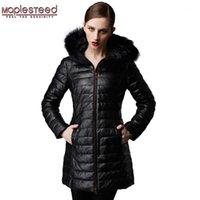 MapLested Женское кожаное пальто зима длинные Parkas 100% овчины натуральный меховой капюшон черные красные женщины длинные пальто зимний пальто 1751