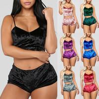 Frauen Art und Weise reizvoller Samt Pyjama Sets Damen Spitze mit V-Ausschnitt Crop Tops Shorts 2pcs / set Nachtwäsche Pyjamas Sets HHA1670
