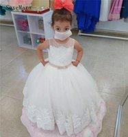 الأبيض العاج الفتيات الأولى بالتواصل اللباس منتفخ تول الرباط الأعلى الاطفال ملابس طفلة اللباس لحفل عيد ميلاد